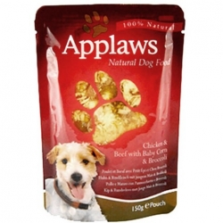 APPLAWS Dog kapsička Chicken & Beef with Baby Corn and Broccoli 150g