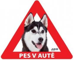 ad01219f8a4 Juko samolepka Pes v autě venkovní Husky Malamut