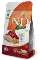 N&D Pumpkin Grain Free Cat Neutered Quail & Pomegranate  300g